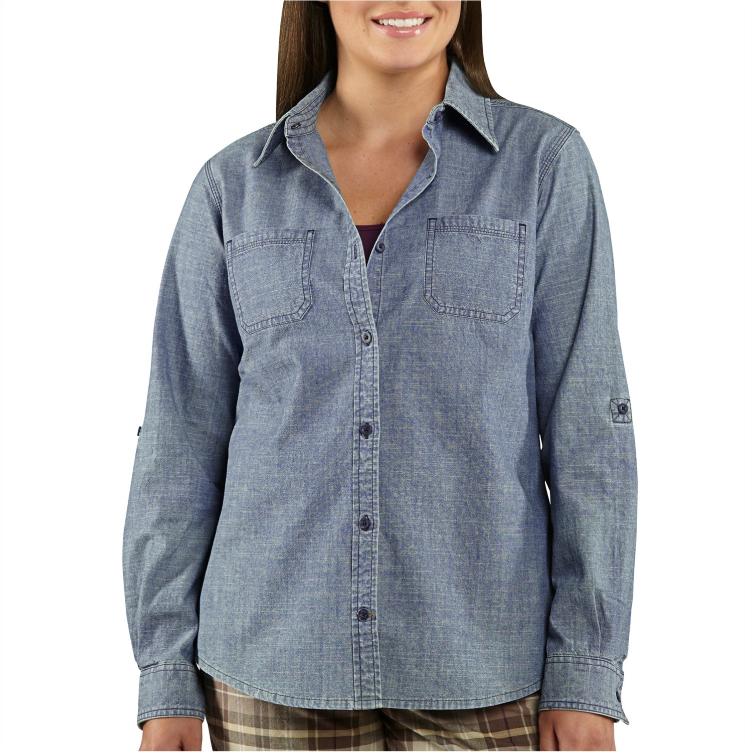 Carhartt linwood chambray shirt for women 6484x for Chambray shirt women