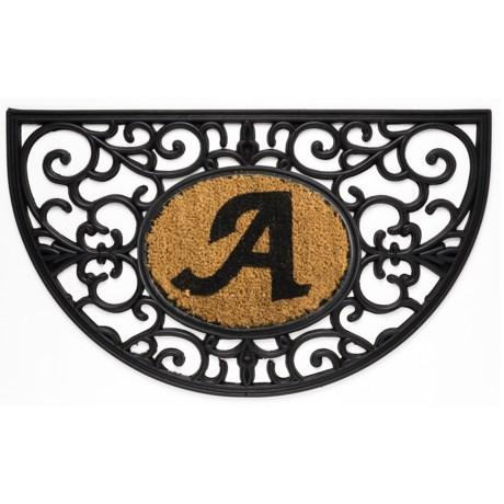 """DII Monogram Rubber & Coir Half-Moon Doormat - 30x18"""""""