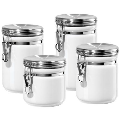 OGGI Ceramic Canister Set with Stainless Steel Lids - 4-Piece