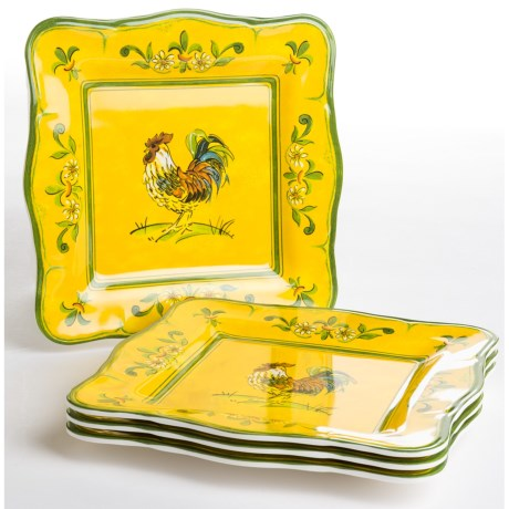 "Le Cadeaux Gallina 9"" Square Salad Plates - Set of 4"