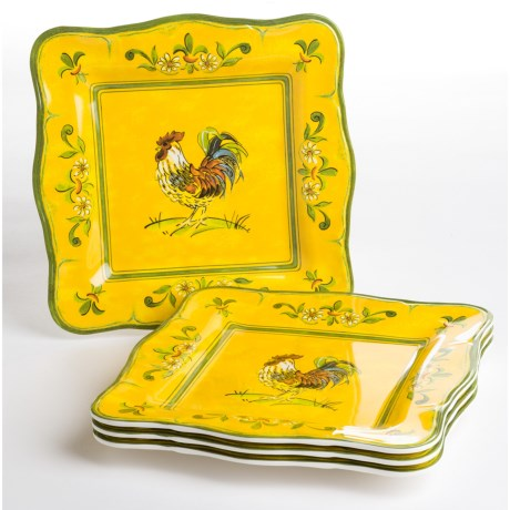 "Le Cadeaux Gallina 11"" Square Dinner Plates - Set of 4"