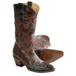 Corral Boots 3 Cross Overlay Cowboy Boots - Snip Toe (For Women)