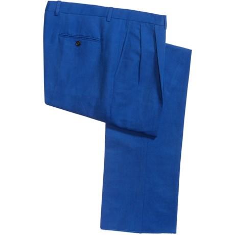 Lands' End Lands' End Comfort Waist Trouser Pants - Linen-Cotton, Double-Reverse Pleats (For Men)