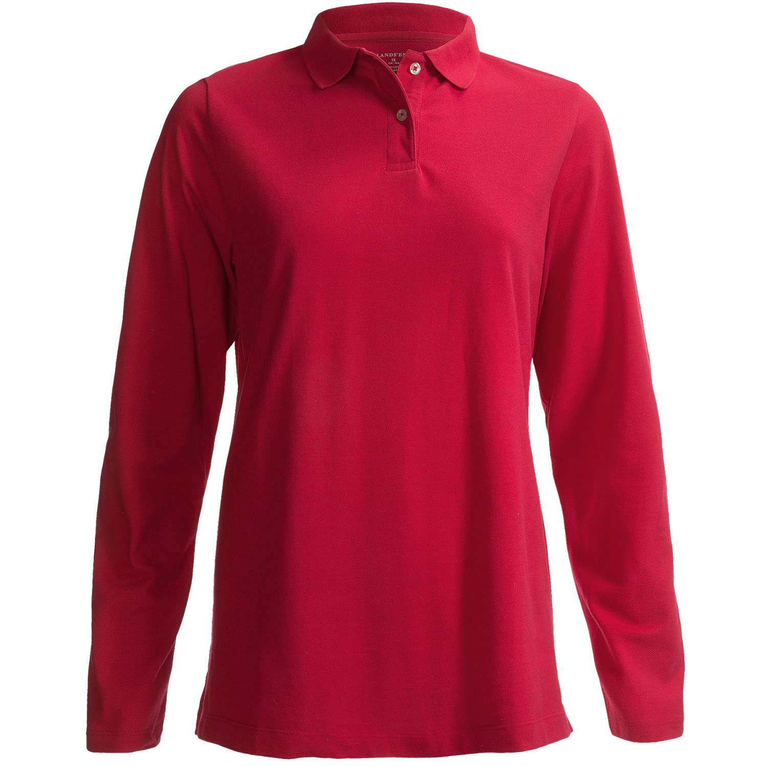 4e20215f Lands' End Natural Fit Mesh Polo Shirt Cotton, Long Sleeve (For Plus Size  Women) 6585F
