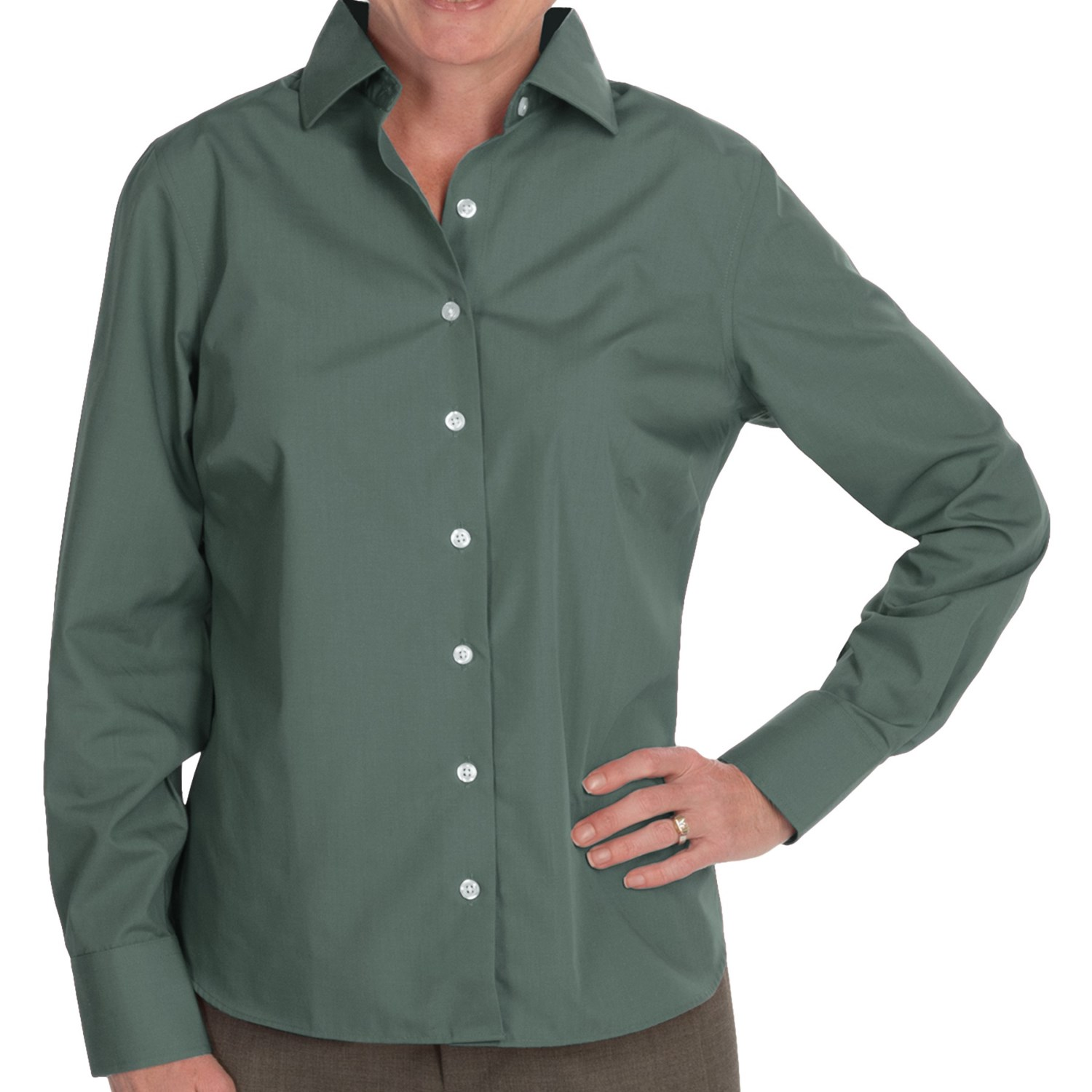 Lands end wrinkle free broadcloth shirt for petite women Wrinkle free shirts for women
