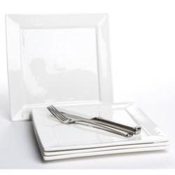 """BIA Cordon Bleu Square Plates - 9-3/4"""" Porcelain, Set of 4"""