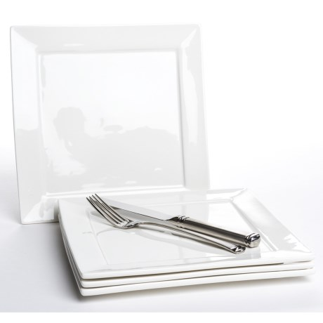"BIA Cordon Bleu Square Plates - 9-3/4"" Porcelain, Set of 4"