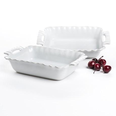 """BIA Cordon Bleu Pinch Rectangular Bakers with Handles - 9-1/2"""", Set of 2"""