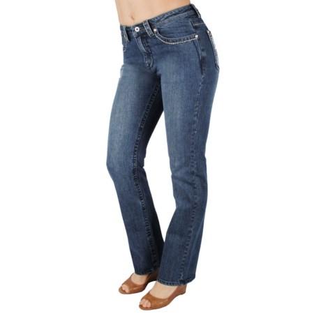 Ethyl Embellished Lace Design Back Pocket Jeans - Bootcut (For Women)