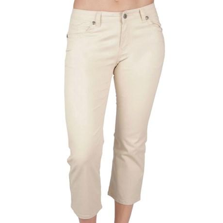 Ethyl Heavy-Stitch Cuffed Crop Pants - Stretch Cotton (For Women)