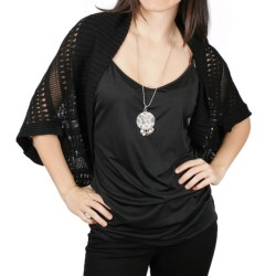 Ethyl Crocheted Cocoon Sweater - Short Sleeve (For Women)