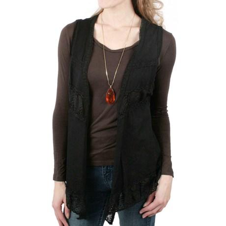 Ethyl Open-Front Vest - Lace Detail (For Women)
