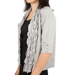 Ethyl Ruffled Open-Front Cardigan Sweater - 3/4 Sleeve (For Women)