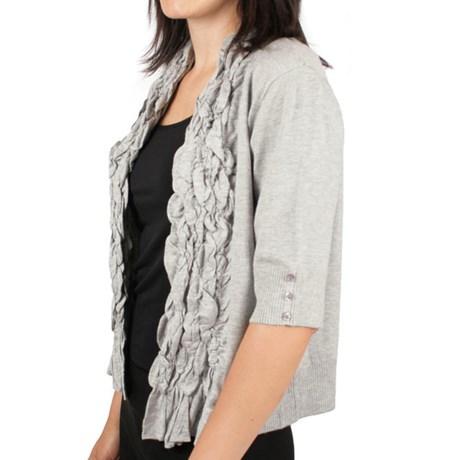 Ethyl Ruffled Open-Front Cardigan Sweater - 3/4 Sleeve (For Women)