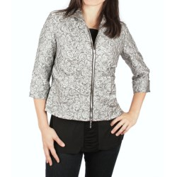 Ethyl Silver Jacquard Jacket - Zip Front, 3/4 Sleeve (For Women)