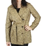 Ethyl Gold Jacquard Trench Coat (For Women)