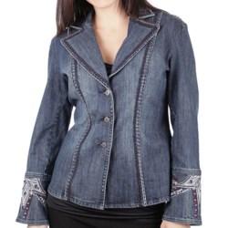 Ethyl Embellished Star Denim Blazer (For Women)