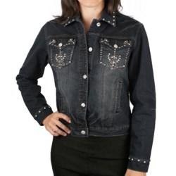 Ethyl Embellished Cross Denim Jacket (For Women)