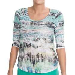 NTCO Noma Boutique Papyrus Print Shirt - 3/4 Sleeve (For Women)