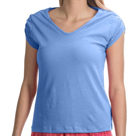 NTCO Buena Vista Pima Cotton Shirt - Ruched Short Sleeve (For Women)