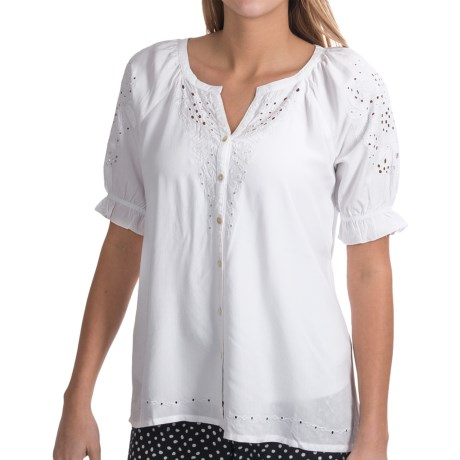 Fresco by Nomadic Traders Poetry Shirt - Embroidered, Short Sleeve (For Women)