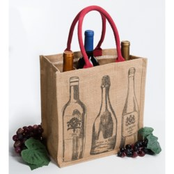 Two's Company Wine Bottle Tote Bag - Printed Jute