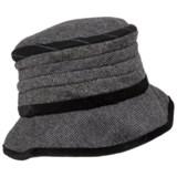 Scala Pronto Velvet Trim Tweed Cloche (For Women)