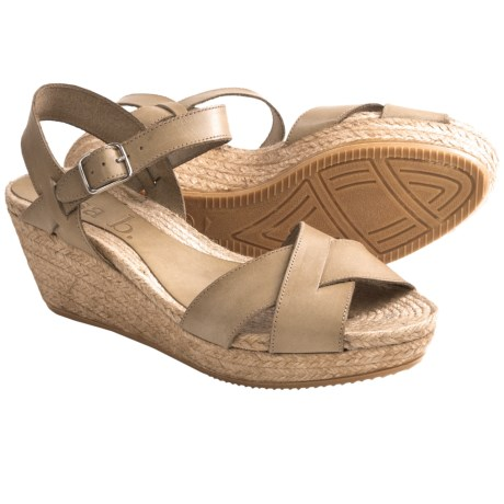 lisa b. Criss-Cross Espadrille Sandals - Leather, Wedge Heel (For Women)