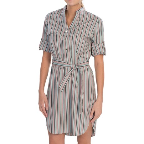 Lafayette 148 New York Graydon Derby Stripe Dress - 3/4 Button-Tab Sleeves (For Women)