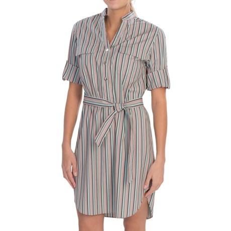 Lafayette 148 New York Graydon Derby Stripe Dress - 3/4 Button-Tab Sleeves (For Women)