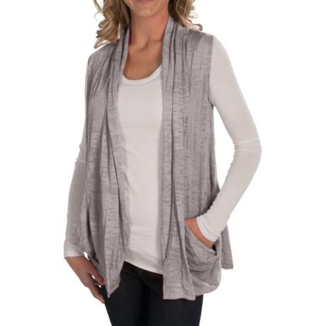 Alternative Apparel Cascading Open-Front Vest - Burnout Jersey Knit (For Women)