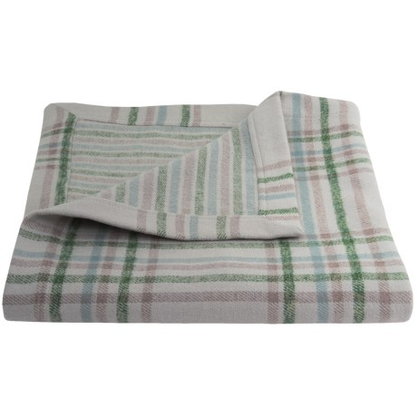 Peacock Alley Upcycled Cotton Flannel Oversized Throw Blanket - Reversible, 50x70""