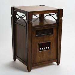 Muskoka Quartz Infrared Heater and Decorative Accent Table - Filigree-Trim Top Shelf
