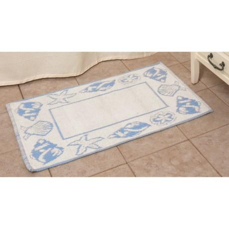 "Espalma Shell Frame Bath Rug - Cotton, Reversible, 21x34"""