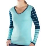 SmartWool Lightweight Stripe Sweater - Merino Wool, V-Neck (For Women)