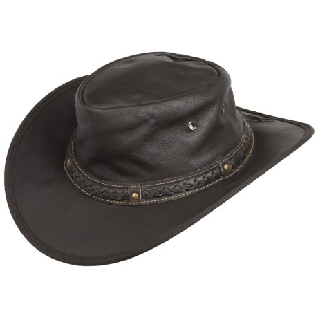 Cov-Ver Soft Leather Outback Hat - UPF 50+, Crushable (For Men and Women)