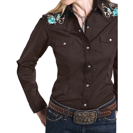 Roper Embroidered Yoke Shirt - Snap Front, Long Sleeve (For Women)