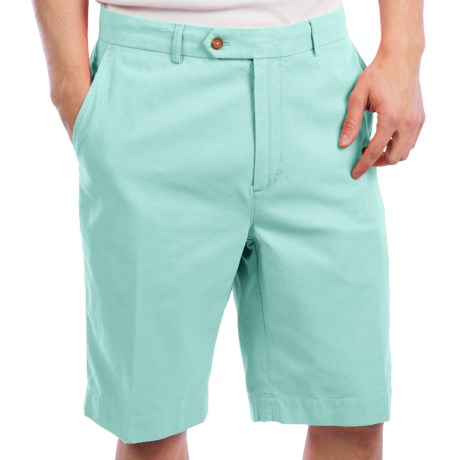 Fairway & Greene Washed Silk-Cotton Twill Shorts - Flat Front (For Men)