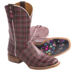 Tin Haul Plaid Cowboy Boots (For Women)