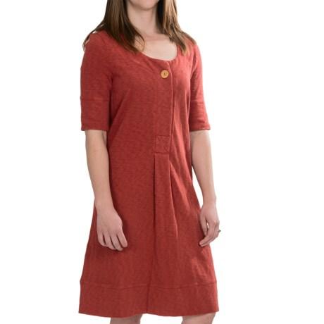 French Terry Dress - Slub Cotton, Elbow Sleeve (For Women)