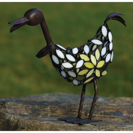 Ancient Graffiti Stained Glass Duck Garden Figure