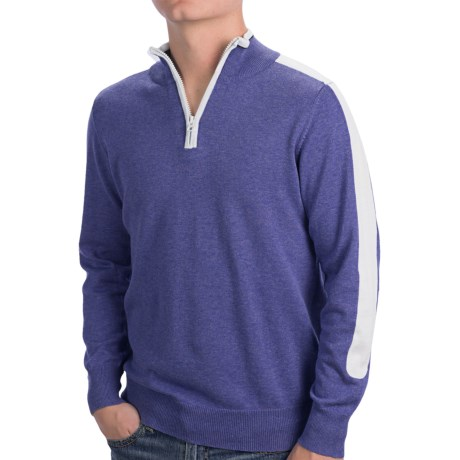 Cotton Zip Neck Shirt - Long Sleeve (For Men)