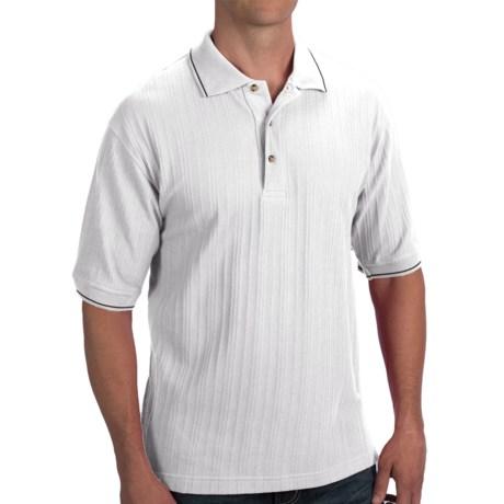 Woven Blend Polo Shirt - Short Sleeve (For Men)