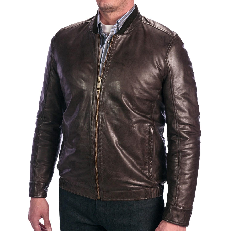 Andrew Marc Cash Leather Bomber Jacket For Men 6789t