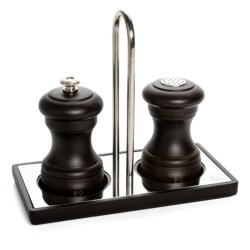 Peugeot Bistro Salt and Pepper Mill Set with Linea Tray - 3-Piece Set