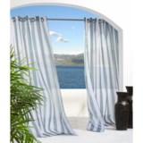 """Outdoor Decor Escape Stripe Semi-Sheer Indoor/Outdoor Curtains - 108x84"""", Grommet-Top"""