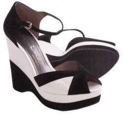 Nina Shari Platform Sandals - Nubuck, Wedge, Peep Toe (For Women)