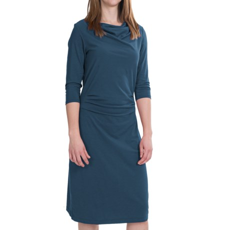 Pendleton Drape Neck Dress - Stretch Cotton-Modal, 3/4 Sleeve (For Women)