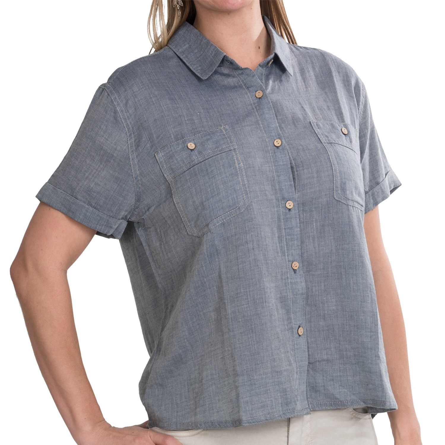 Gramicci keri chambray shirt for women 6824a save 83 for Short sleeve chambray shirt women