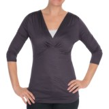 Gathered V-Neck Shirt - 3/4 Sleeve (For Women)